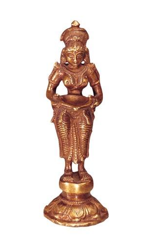 Lakshmi, stehend, Messing, 14 cm hoch