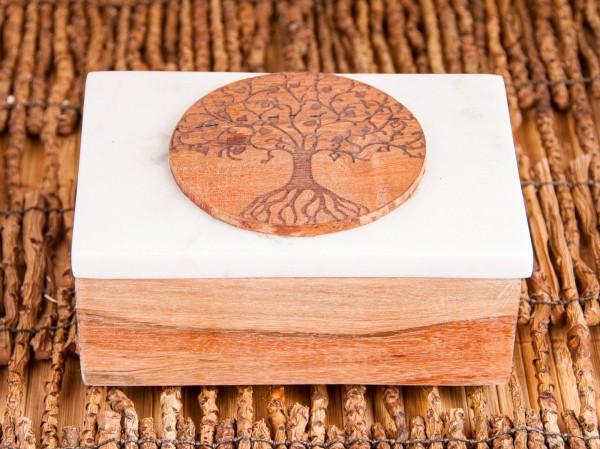 Kartenbox aus Marmor Lebensbaum