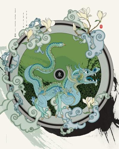 Kunstdruck/Poster Grüner Drache des Ostens