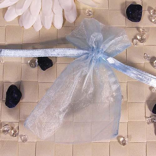 Organzabeutel klein, blau, 9x12cm
