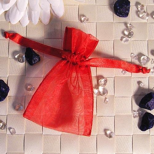 Organzabeutel mini, rot, 6x9cm, 50 Stück
