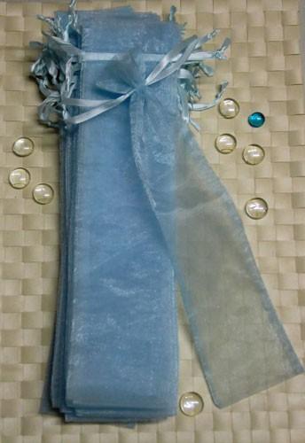 Organzabeutel für Räucherstäbchen blau, 8x34 cm