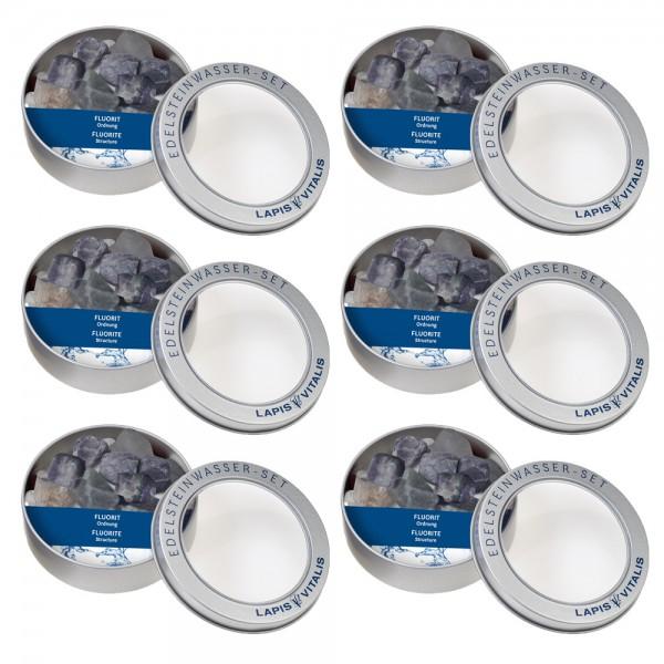 Fluorit Wassersteine - 6er Set Geschenkdose
