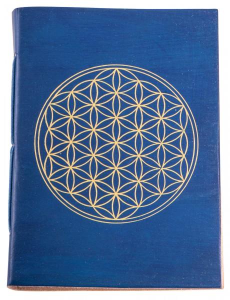 Schreibbuch Lebensblume blau/gold