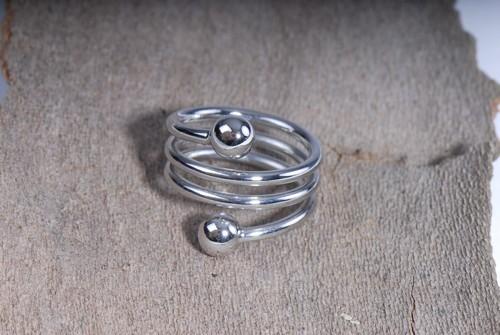 Spiral- Ring, versilbert
