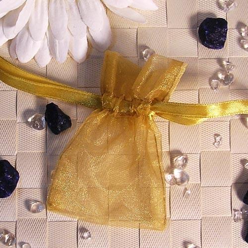 Organzabeutel mini, gold, 6x9cm, 50 Stück