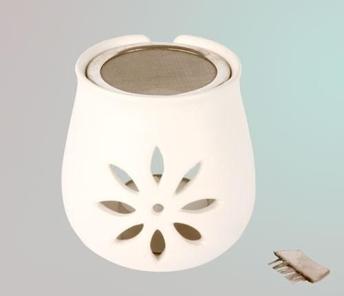 Räucherstövchen Blume aus Ton mit Sieb