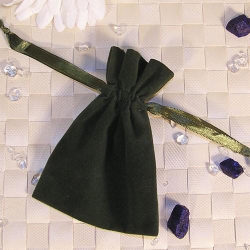Samtbeutel olivgrün, 9x12cm