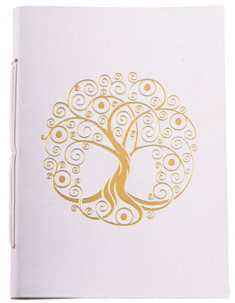 Schreibbuch Lebensbaum weiß/gold