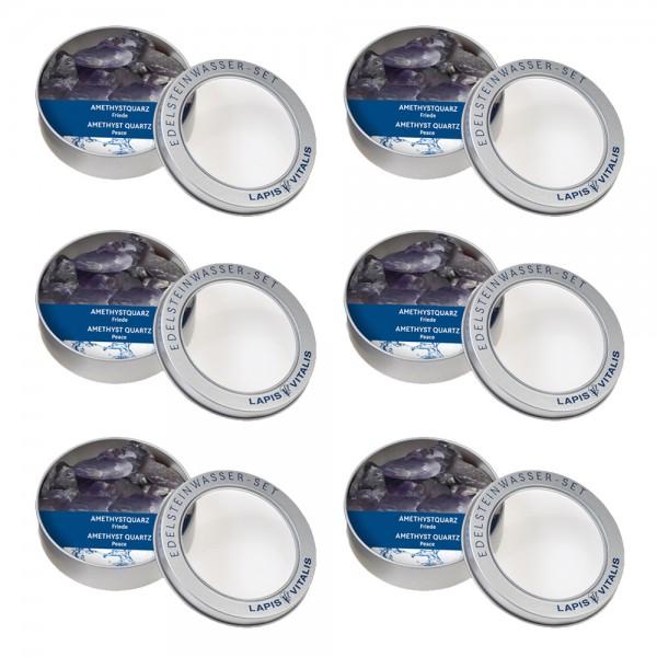 Amethyst Wassersteine - 6er Set Geschenkdose