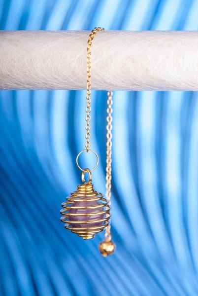 Spiralpendel mit Amethyst,vergoldet