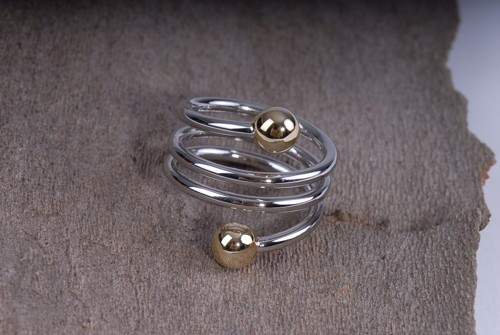 Spiral- Ring, silber-gold