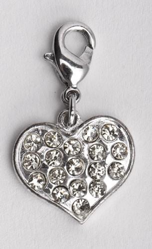 Herz mit weißen Kristallen besetzt - Charms