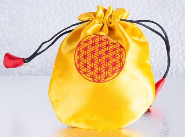 Satin Beutel Lebensblume, gelb
