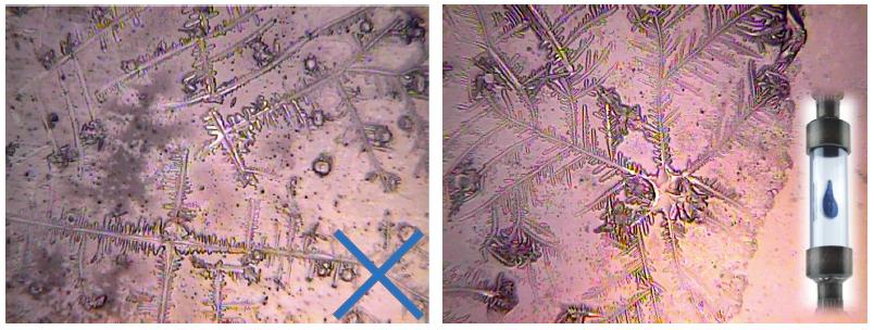 Wasserkristalle unter dem Mikroskop nach Behandlung mit Wasserstrukturierer