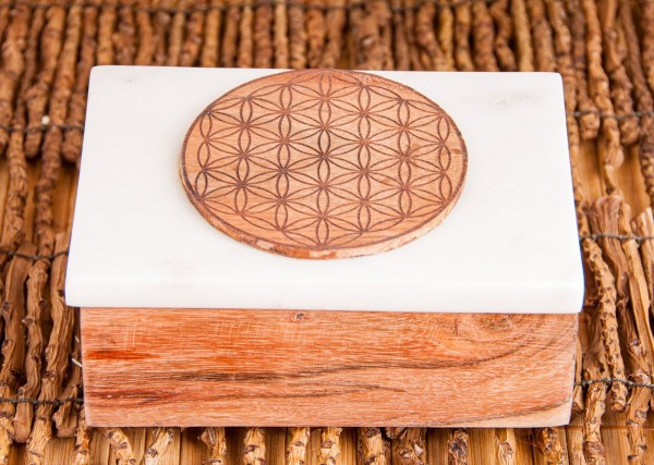 Kartenbox aus Marmor Blume des Lebens