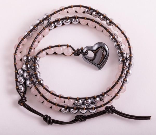 Magnet -Wickelarmband Rosenquarz
