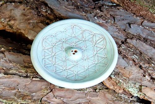 Blume des Lebens Türkis- Räucherhalter aus Keramik