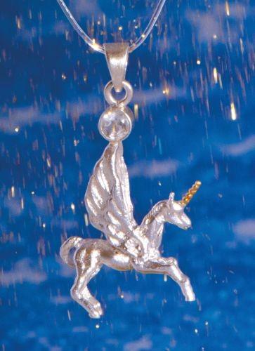 Pegasus-Einhorn-Anhänger mit Bergkristall