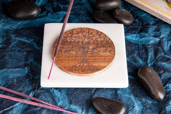Marmorhalter Quadrat mit Lebensbaum