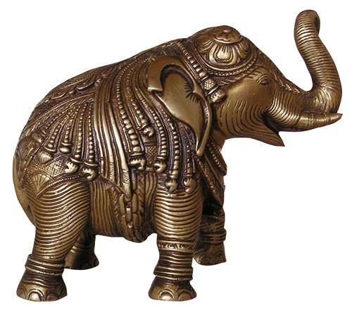 Großer Elefant mit Gravur, ca. 19 cm lang