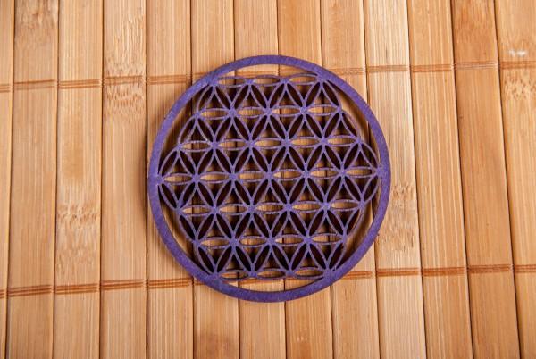 Blume des Lebens aus Holz 6 cm, lila
