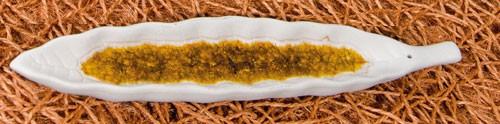 Räucherstäbchenhalter Blatt, gold glasiert