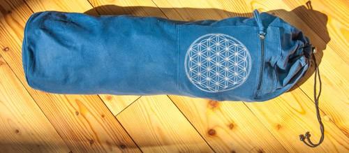 Yoga Tasche mit Blume des Lebens blau