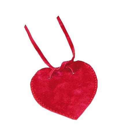 Herz-Samtbeutel rot 7 x 7 cm