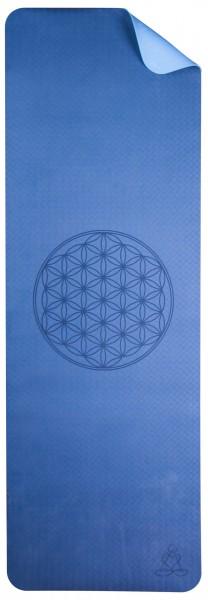 Yoga-Matte TPE ecofriendly - dunkelblau/hellblau