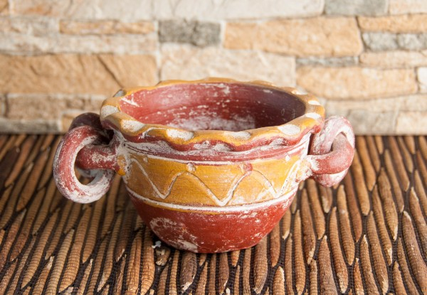 Räucherschale Azteke, rot/gelb