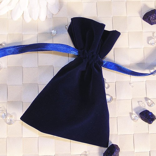 Samtbeutel blau, 9x12cm