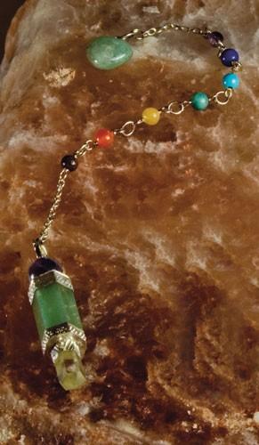 7 Chakra Pendel mit grünem Aventurin
